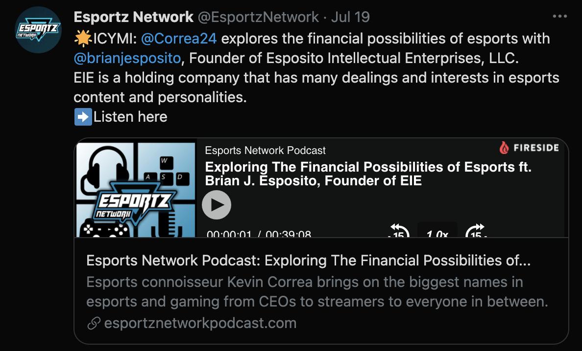 Exploring The Financial Possibilities of Esports Kevin Correa Esports - Brian J. Esposito